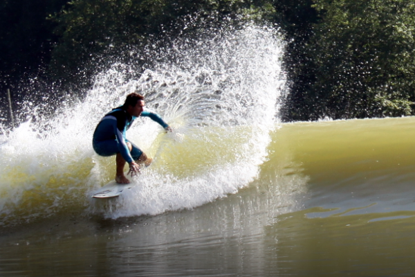 Cory Lopez surfing the Wavegarden prototype in Basque country Spain