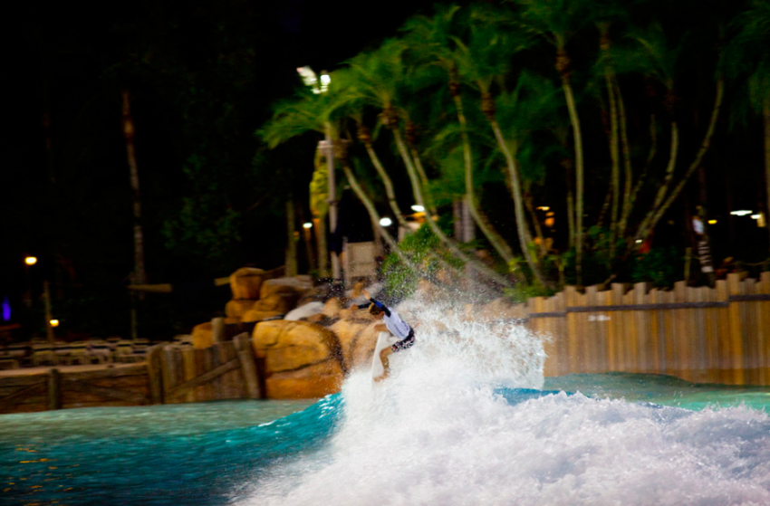 Daniel Glenn boosting during the Oakley Surf Shop Challenge at Typhoon Lagoon Wave Pool | Surf Park Central