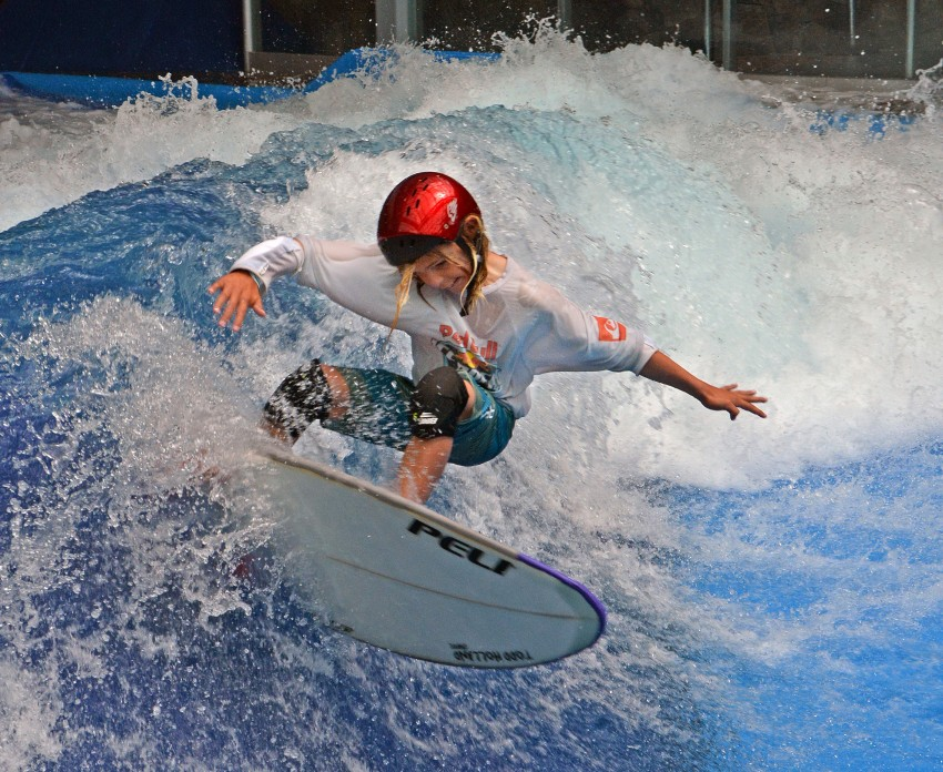 Robbie Goodwin at Surfs Up NH on the American Wave Machines SurfStream | Surf Park Central