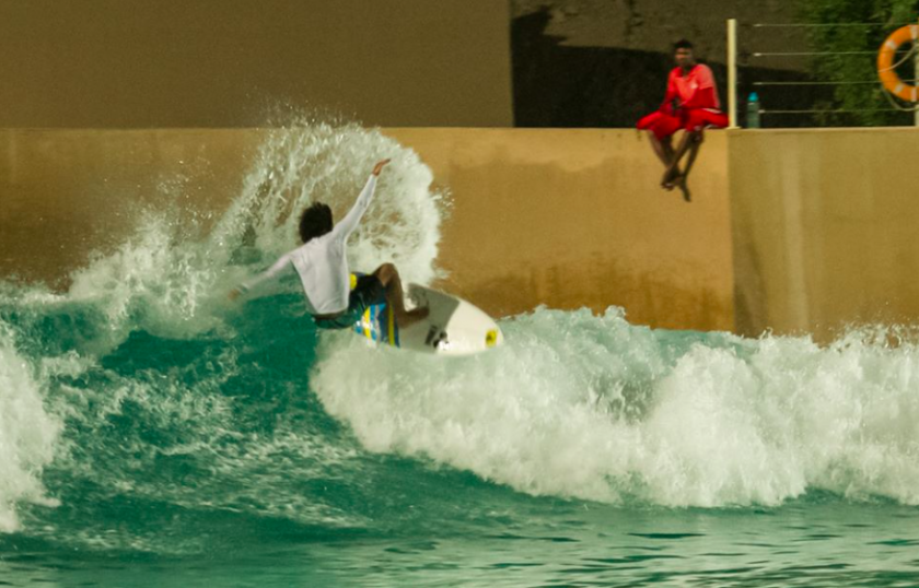 Mo Rahma frontside blast at Wadi Adventure Wave Pool in Al Ain Abu Dhabi | Surf Park Central