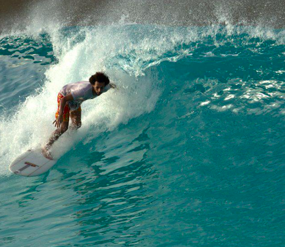 Mo Rahma - The UAE's first competitive surfer pulling in to a clean one at Wadi Adventure Wave Pool in Al Ain, UAE.
