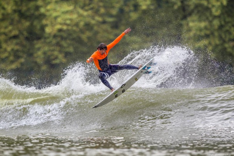 World Surf League Pro Miguel Pupo surfing the Wavegarden prototype in Spain