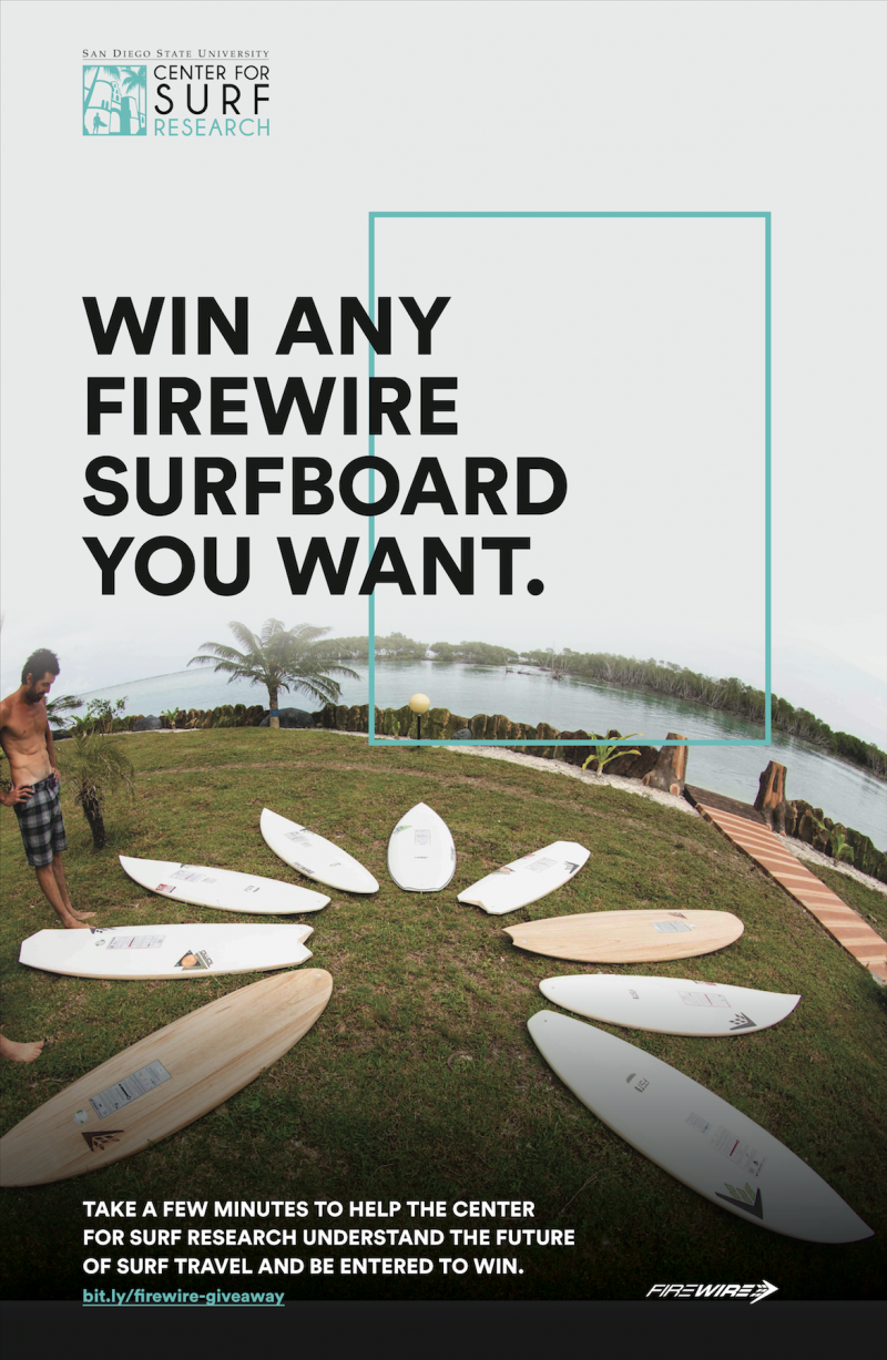 Center for Surf Research Firewire Surfboard Giveaway