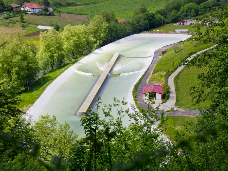 An aerial view of the Wavegarden Demo Center in Spain, which is a third of the size of the NLand Surf Park. Courtesy of Wavegarden