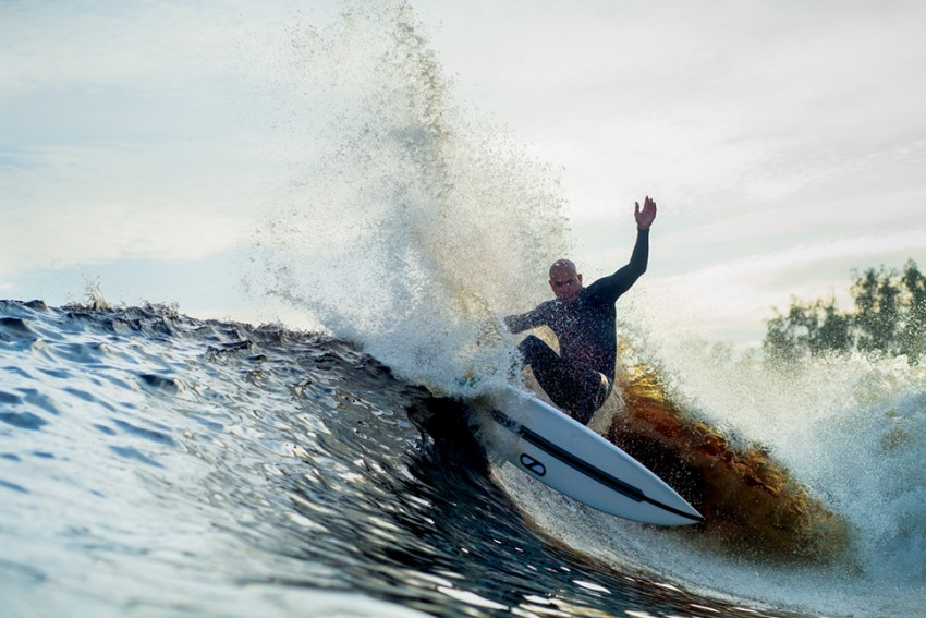 Kelly Slater feeling out the bowl of his manmade wave | Surf Park Central