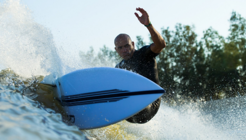 Surf Parks Everywhere | Kelly Slater at his Surf Ranch in Lemoore, CA | Photo Glaser Surf Park Central