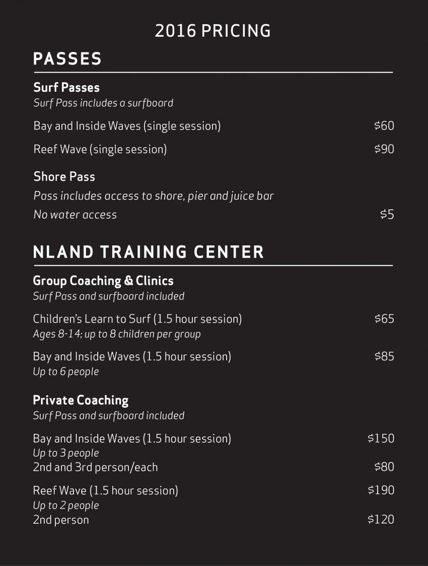 NLand Surf Park Price Chart October 2016   Surf Park Central